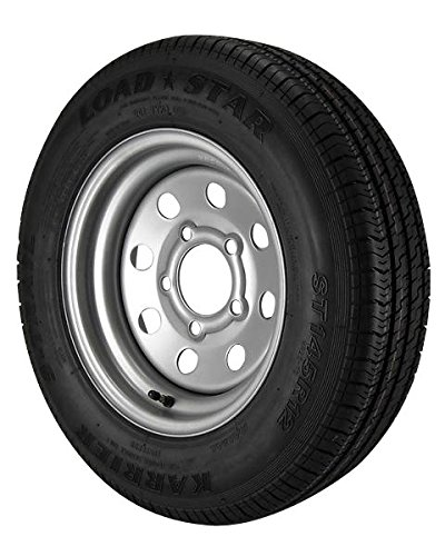 ST145/R12 Loadstar Trailer Tire LRE on 5 Bolt Silver